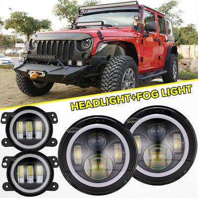 Jeep Halo Headlights >> Led Halo Headlights Led Fog Light Drl Combo Kit For Jeep Wrangler Jk 2007 2018 Ebay
