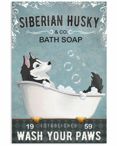 Bath Soap Company Husky Unframed Poster Funny Wall Decor Artwork For Dog Lover