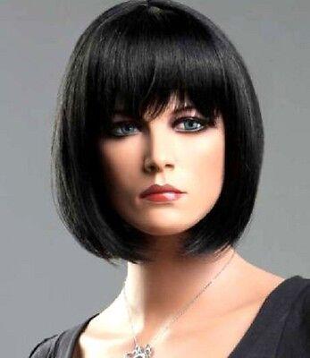 Ladies Hallow Black Brown Blonde Red Short  Wig Classic Bob Fashion Wigs New+Cap