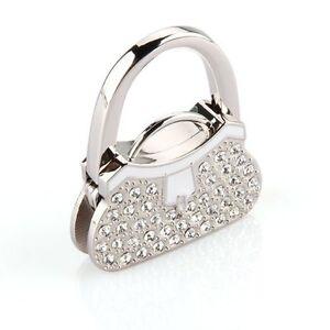 Metal-RhInestone-Folding-Handbag-Purse-Table-Hook-Hanger-Holder-ED