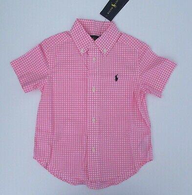 NWT Ralph Lauren Boy/'s Short Sleeved Pink Gingham Cotton Shirt Sz 7 NEW $35