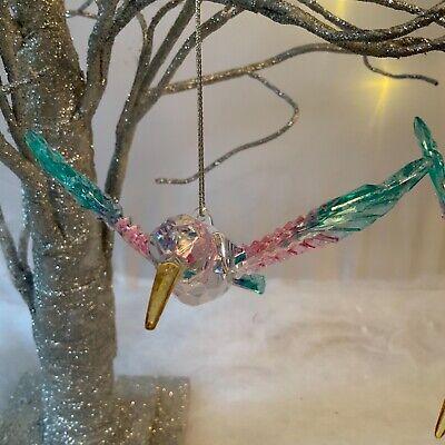 Acrílico Hummingbird árbol de Navidad Decoración Colgante Pájaro Arco Iris Brillo del oro
