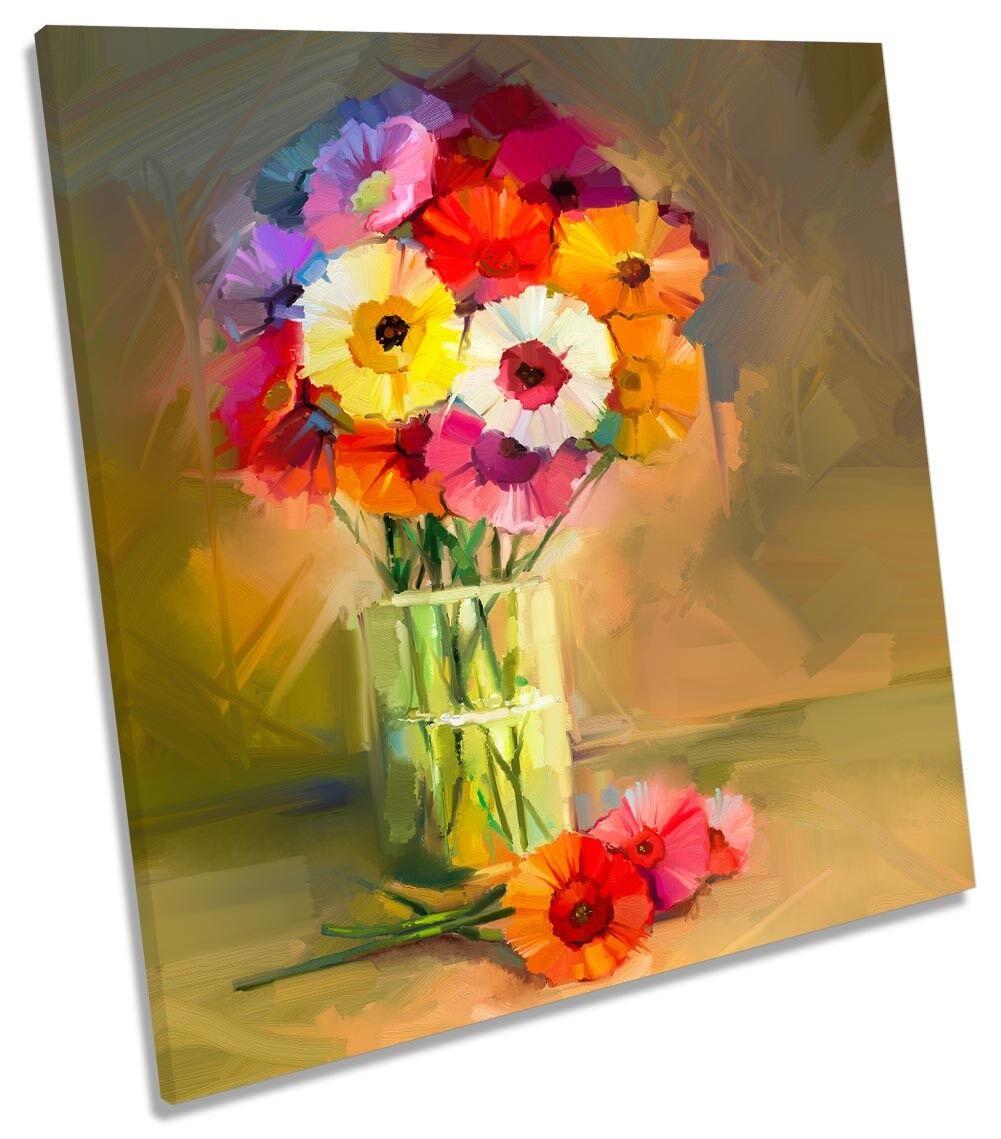 Flowers Vase Still Life Repro CANVAS Wand KunstWORK Square Kunst Drucken