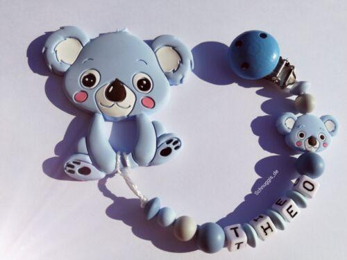 Nuckelkette blau Koala Silikon Baby * Schnullerkette mit Beissanhänger