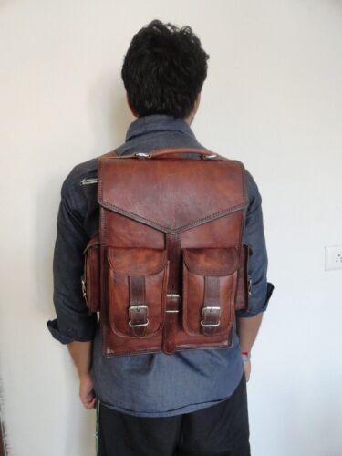 Vintage Brown Men/'s Leather Backpack bags shoulder Briefcase rucksack laptop bag