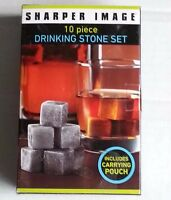 Sharper Image Drinking Stone Set With Pouch 10 Piece Whiskey Spirits Chilling