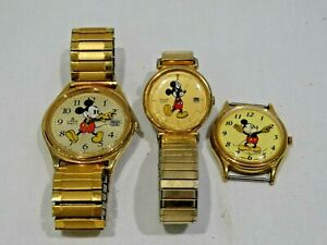 Lot-of-3-Vintage-Mickey-Mouse-Watches-Lorus-amp-Pulsar