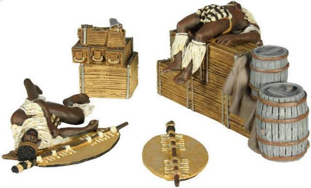 """BRITAINS SOLDIERS 20128 """"Zulu Twilight No.2"""" Dead Zulu on Biscuit Boxes & Ground"""