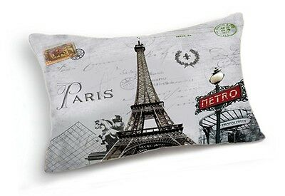Retro Paris Eiffel Tower Metro Home Lumbar Pillow Case Cushion Cover 20''x12''