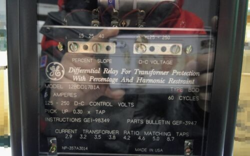 Failure Differential Relay for Transformer Protection GE 12BDD17B1A