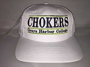 Vtg-Grays-Harbor-College-Chokers-Snapback-hat-cap-rare-90s-THE-GAME-NCAA-College
