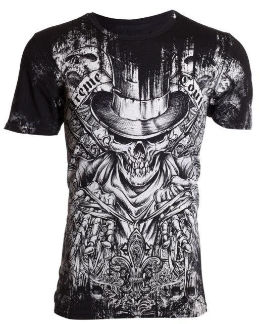 XTREME COUTURE by AFFLICTION Mens T-Shirt OFFERING Skulls BLACK Biker UFC $40