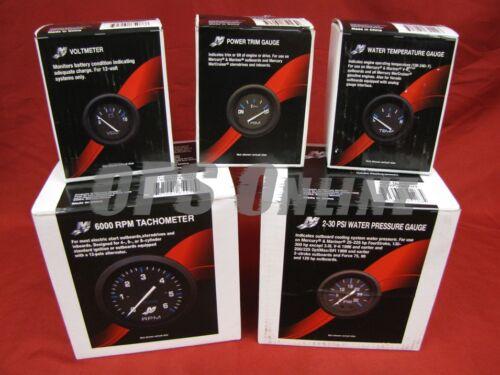 trim volt Mercury Outboard Analog Gauge Set Black w//p temp 6K Tachometer