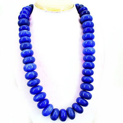 AWESOME BEST 377.15 CTS EARTH MINED 3 LINE BLUE SAPPHIRE FACETED BEADS NECKLACE