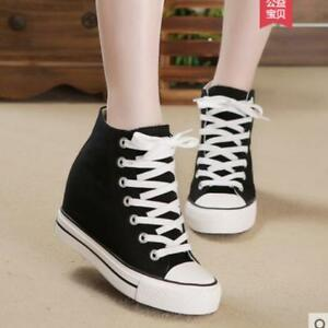 womens canvas lace up hidden wedge heel casual athletic
