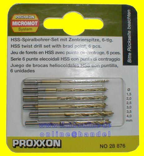 PROXXON 28876 Satz HSS-Spiralbohrer mit Zentrierspitzen 6tlg 1,5 - 4mm - NEU