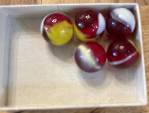 """Five (5) Glass Marbles Rooster Red / White / Yellow Translucent Swirl Diam 5/8"""""""