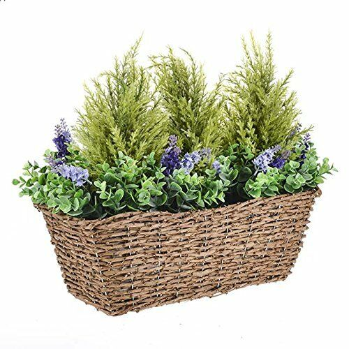 Artificial Lavender Conifer Mix Rustic Woven Window Planter Basket Trough 46cm