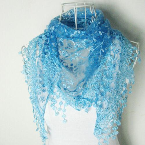 Bunte Frauen Spitze Quaste Rose Floral Knit Mantilla Dreieck Hohl Schal