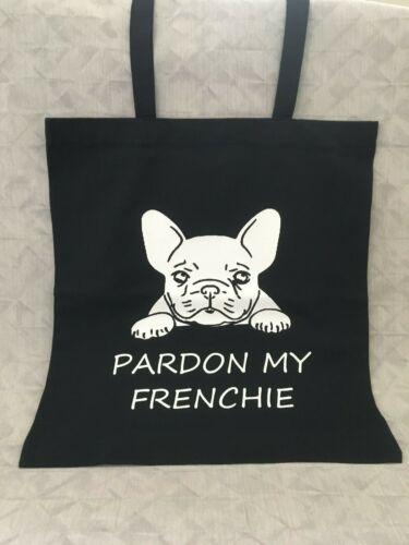 Pardon My Frenchie Black Tote Bag Vinyl Printed French Bulldog Christmas Gift