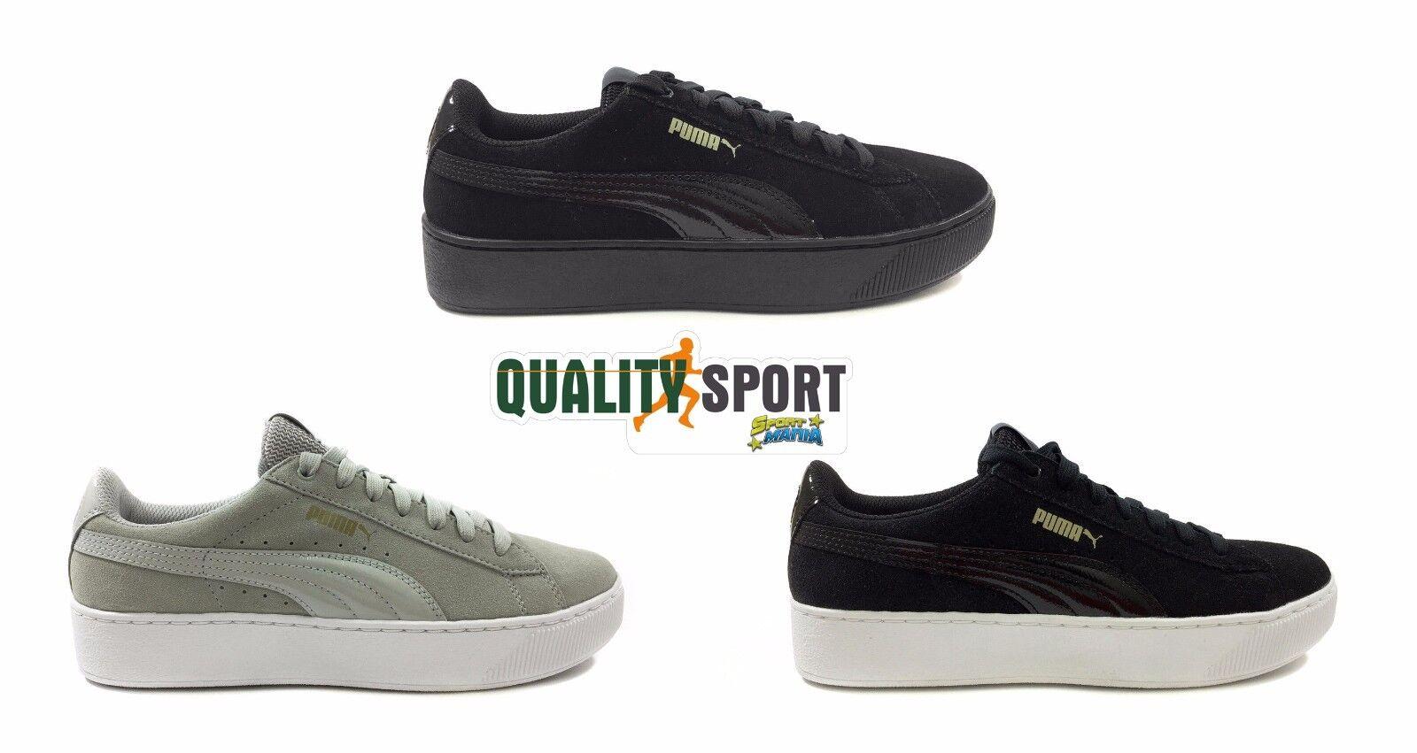 Puma vikky piattaforma nero grigio scarpe scarpe sportive 363287 scarpe da donna