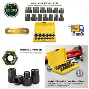 Bolt-Nut-Extractor-Set-13-Pcs-Remover-Damaged-Rusted-Socket-Impact-Wrench-Tools