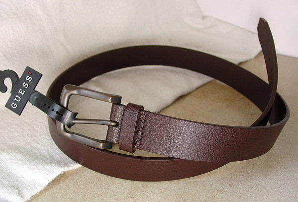 GUESS Brown Leather Dress Casual Belt Mens size 38 Large NWT NEW #19624