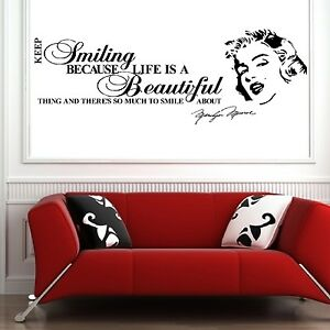 Image Is Loading Marilyn Monroe Wall Art Quote Keep Smiling Life