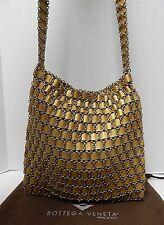 Bottega Veneta Vintage Gold Leather Ribbon Chain Mail Crossbody Bag Italy