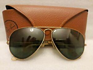 66d4ec9395d9 Vintage B L Ray Ban USA Sunglasses Gold Frame 58-14 Wite Case