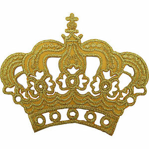 Gold-Crown-Patch-Embroidered-Iron-Sew-On-King-Queen-Fancy-Dress-Costume-Badge