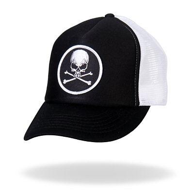 Skull /& Crossbones Black /& White Trucker Snapback Hat #H1008