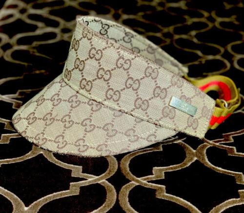 Gucci Sun Visor Adjustable Hat GG Tan Logo