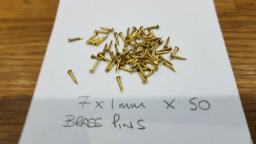 50 PIECES 7 X 1 mm SOLID BRASS PINS DOLLS HOUSE JEWELRY BOX MINIATURES MODELS