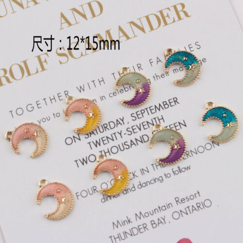 30PCS Enamel Cute Mini Moon Gold Tone Charms Pendant DIY Crafts mix colors 15x12