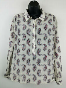 LOFT-Ann-Taylor-Womens-Button-Top-Large-Paisley-Print-Long-Sleeve-EUC