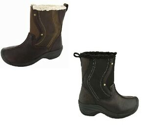 Keen-Chester-Womens-Winter-Boots-Leather-Waterproof-Slip-On-Shoes-Brown-Black