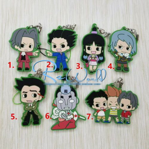 T915 Anime Phoenix Wright rubber Keychain Key Ring Straps Rare cosplay