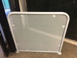 Automatic door safety barrier powder coated in silver with mesh infill - Nottingham, United Kingdom - Automatic door safety barrier powder coated in silver with mesh infill - Nottingham, United Kingdom