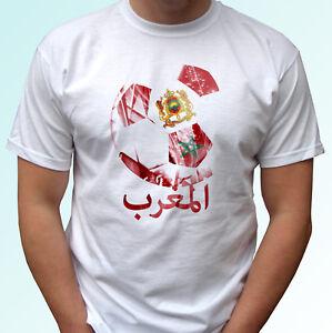 Morocco football flag white t shirt design soccer world cup top tee ... a71cc38bd