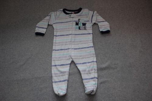 "Baby Boys Pajamas /""I/'M NEW HERE/"" Knit Sleeper WHITE GRAY TEAL NAVY Zip Up 3-6 MO"