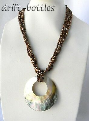 4Strands 21'' Coffee Baroque Freshwater Pearl Crystal Shell Pendant Necklace