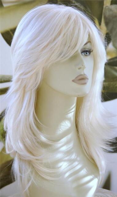 FULL WOMENS HAIR WIG LONG LIGHT BLONDE HEAT RESIST FLICKED & LAYERED  B95  UK