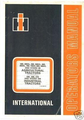 Internacional Tractor 485 585 685 785 885 y Xl versiones Manual del operador