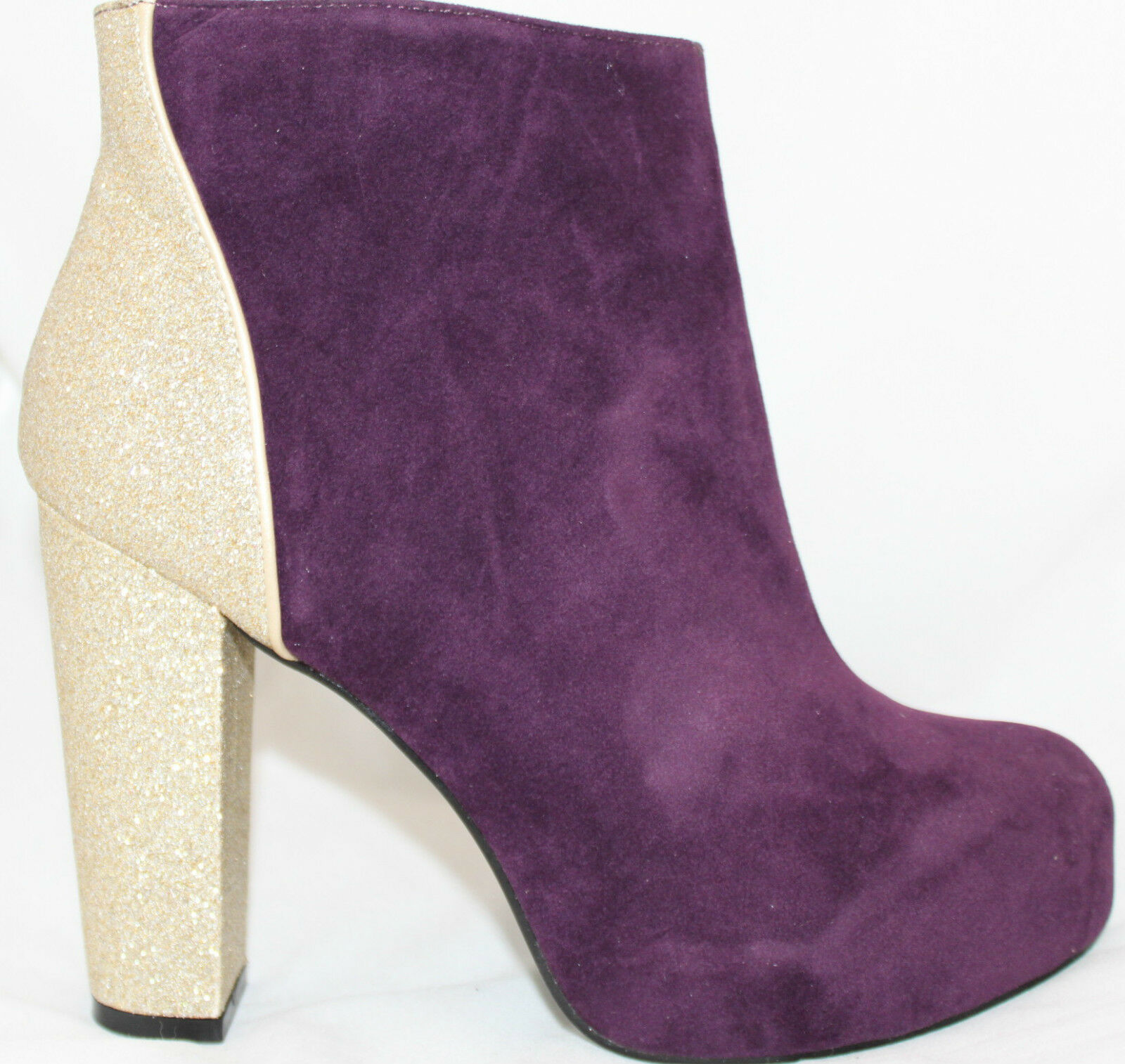 Velvet Boots Boots Boots Fashion Ankle Booties Burgundy w Glittery gold Suede Women's shoes 33d615