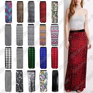 Détails sur Nouveau Femme Imprimé Jersey Moulante Taille Élastique Été Gypsy Jupe Longue afficher le titre d'origine