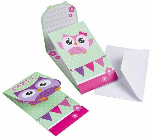 Amscan Hiboux 8 invitations et enveloppes Owl Invitation Fête D/'Anniversaire Fête