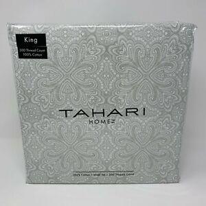 Tahari-Bedding-4-Piece-King-Sheet-Set-Grey-Geometric-Medallion-Pattern-on-Whi