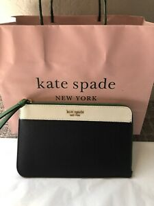 New-Kate-Spade-Cameron-L-Zip-Wristlet-Navy-Green-amp-White-Authentic-FREE-SHIP