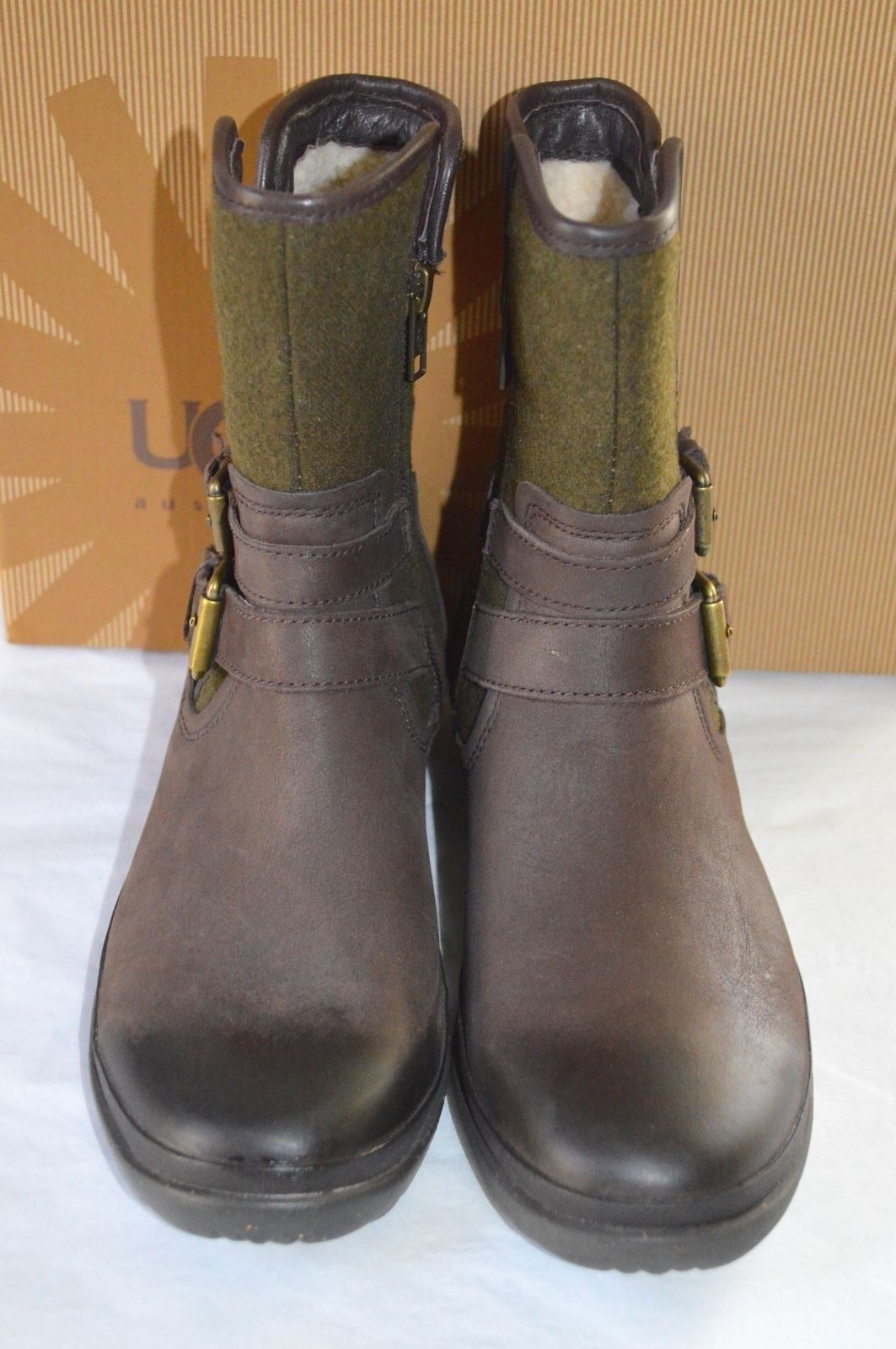 New  170 170 170 UG Simmens Stout Brown Leather Olive Green Wool Waterproof Boots sz 6 533cc7